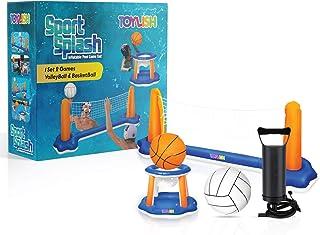充气泳池浮球套装排球网和篮球圈;包括充气浮球器,包括儿童和成人游泳游戏玩具,浮动,夏季浮球,排球场(106 x 28 x 35 英寸)|篮球