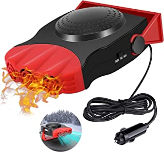 便携式汽车取暖器汽车除雾器,点烟器12V 150W 汽车取暖器,快速加热和冷却风扇,适用于汽车挡风玻璃180度旋转,适用于汽车 SUV卡车房车拖车(红色)