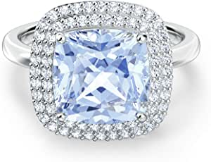 SWAROVSKI 正品天使戒指,蓝色,镀铑,尺寸 6