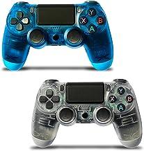 2 件装无线游戏控制器,适用于 PS4,[*版] 触摸面板游戏手柄 USB 线,带双重振动和音频功能防滑手柄,适用于播放 4/Pro/Slim/PC(透明白色和海洋蓝)