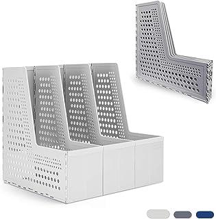 可折叠杂志文件夹,一个新一代办公室组织,用于文件夹,3 个垂直隔层桌面收纳架(浅灰色/深灰色/蓝色)(浅灰色)
