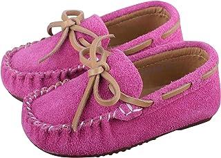学步男孩女孩麂皮软帮乐福鞋平底船鞋柔软室内户外拖鞋