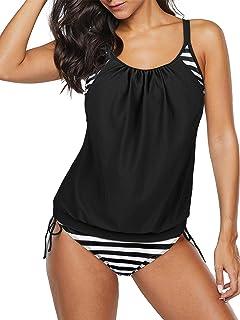 Century Star 女式两件套分体泳衣,花卉背心比基尼衬垫泳装带平角短裤