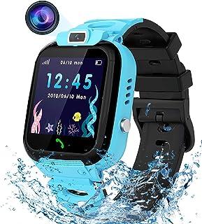 男童女孩儿童智能手表,防水 LBS 追踪器高清触摸屏智能手表手机带呼叫 SOS 相机游戏记录警报,适用于儿童男孩女孩学校