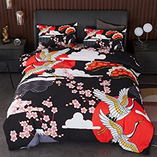 Btargot Erosebridal 日式棉被套装单人床尺寸,樱花起重机印花装饰床上用品套装适合儿童女孩女士卧室装饰,海浪羽绒被传统复古主题,带 2 个枕套