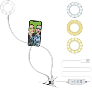 DigiPower 3 英寸 自拍环形灯,带夹架,3 种照明模式,10 个亮度等级,智能手机支架(iOS / Android),无线遥控器,用于化妆、YouTube、TikTok 和Vlogging,DP-VLR3