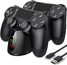 PS4 控制器充电器,Doledo PS4 无线底座充电器双 USB 快速充电底座,适用于 Playstation 4/PS4/ Pro /PS4 超薄控制器,充电底座,带 LED 指示灯,适用于 DualShock 4