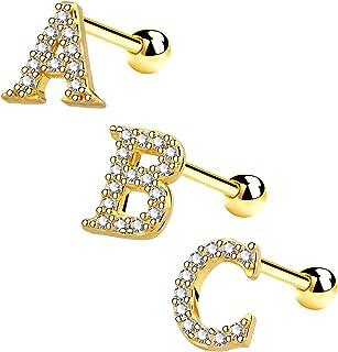 OUFER 字母软骨耳环 316L 不锈钢 Helix 耳环 女式金耳环