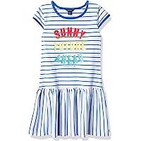 Nautica 女童短袖条纹时尚连衣裙