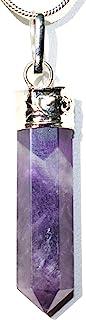 CHARGED 天然喜马拉雅宝石水晶完美吊坠 + 20 英寸(约 50.8 厘米)银链 + 硒石充电心形 [ 包括]