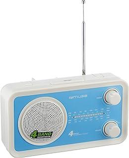 Muse M-05BL 厨房收音机(FM,MW,LW,KW)收音机,电源和电池供电,伸缩天线,AUX-In,蓝色