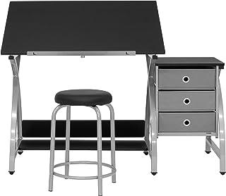 SD STUDIO DESIGNS Comet Center Plus,工艺桌和配套凳子套装 带存储和可调节顶部,银色/黑色