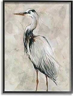 Stupell Industries Crane Bird Portrait Look Left 中性水彩画,由 Carol Robinson 黑色带框墙艺术,24 x 30,灰色