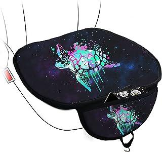 WELLFLYHOM 海龟坐垫适用于汽车座椅司机可爱设计汽车座椅底罩保护罩带口袋 2 件装夏季薄网眼汽车座椅垫卡车司机,可水洗