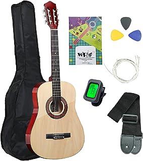 MIRIO 经典吉他原声全尺寸 38 英寸(约 96.5 厘米)吉他 6 根尼龙弦 手工实心吉他 适合初学者 少年儿童初学者套装 带防水袋 吉他夹 调谐器带 额外琴弦
