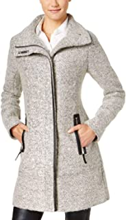 Calvin Klein 女士羊毛大衣,带隧道领和 PU 饰边,颈部按扣