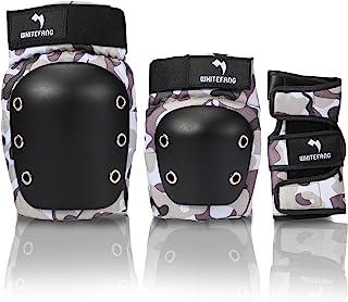WhiteFang 儿童/青年护膝护膝,护膝和护肘护腕 6 合 1 防护装备套装,适用于滑板、滑冰、滑雪、滑板车