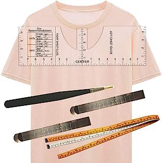 T 恤标尺 5 件导向标尺,用于热压到中心设计衬衫尺,用于乙烯基对齐校准中心标尺衬衫测量工具透明缝纫尺