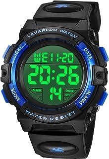 儿童手表,男孩手表数字运动户外多功能计时器 LED 50M 防水闹钟日历模拟手表带硅胶表带