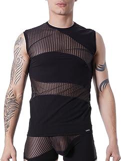 Lookme 性感圆领男式背心黑色不透明和透明细条纹