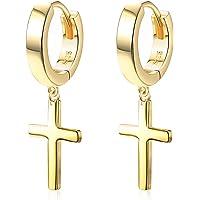 Sllaiss 925 纯银十字架吊坠耳环男女轻质 18K 镀金小拥抱环十字架耳环