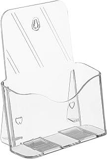 Relaxdays Flyer 竖立架 DIN A5 铝板 丙烯酸材质 1 个隔层 可竖放 墙面宣传册架 透明