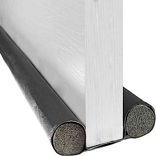 BAINING 双挡板,37 英寸(约 91.4 厘米)双侧门下窗底部密封条噪音阻滞器,可水洗可切割皮革管填充 EPE 适用于室内门和窗户停止装置,黑色