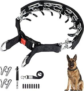 Ivienx 狗爪牵引项圈,狗狗窒息夹脖 [2 个额外链接] [狗口哨] [封面] 带按扣和橡胶盖,无拉狗项圈 适用于中大型犬 [大号]