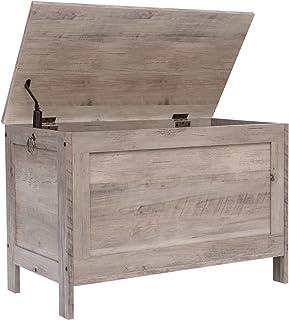 HOOBRO 储物柜,复古玩具箱收纳盒,带*铰链,坚固的入口储物台,木质外观装饰家具,易于组装,Greige BG75CW01