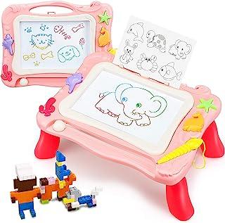 TOY Life 儿童磁性绘画板 - 3 合 1 Magna 涂鸦板 带印章、模板、替换笔 玩具块 - 素描涂鸦板 适合 2 3 4 5 岁男孩女孩