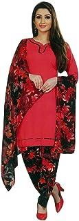 ladyline 女式即穿Salwar Kameez 人造绉纱印花印度缝制纱丽西装 Blush (34) 48
