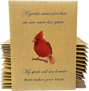 Cardinal Funeral Bird Seed Favors - 20 个独立密封的小鸟种子 - 随时释放,无需组装