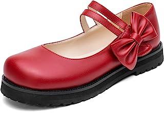 ZUQIN 时尚蝴蝶结钩环平跟黑色角色扮演洛丽塔玛丽简鞋女式圆头脚踝绑带防水台学生鞋舒适
