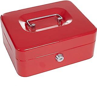 """Stalwart 20.32cm 锁定现金盒,带硬币托盘 红色 8"""" 75-0856R"""