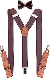 QCWQMYL 青铜旋转挂钩吊带领结套装男式燕尾服支架皮革