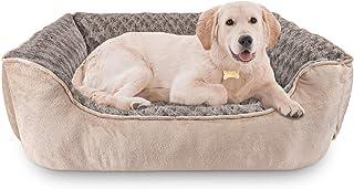 JOEJOY 长方形狗床适用于大号中小型犬,可机洗睡狗沙发床防滑底部透气柔软小狗床耐用骨科*宠物床,多尺寸,米色