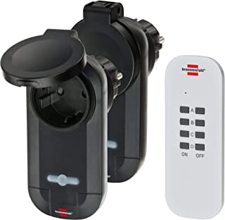 Brennenstuhl 无线电开关套装 RC CE1 0201 2 个无线插座套装(室外区域 IP44,带手持发射器和增强触摸保护)黑色