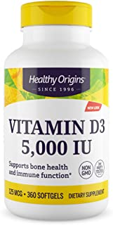 Healthy Origins 维生素D3 膳食补充剂 5000 国际单位 360 粒软胶囊