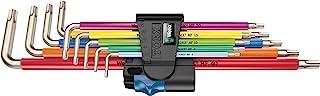 Wera 3967/9 TX SXL 多色带固定功能不锈钢L 形扳手套装,TX8-TX40,9 件,05022689001
