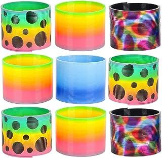 Kicko 各种弹簧线圈 – 9 个装 – 3 英寸塑料弹簧,不同颜色和印花,适用于玩具收藏、课*励、玩耍活动、Pinata 填料、好袋子