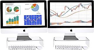 2 件透明亚克力电脑显示器支架亚克力支架电脑支架桌面显示器立架支架,适用于家庭办公室商务笔记本电脑屏幕电视显示器,无线键盘存储