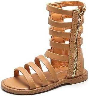 DADAWEN 女童系带角斗士凉鞋夏季露趾平底凉鞋带侧拉链(幼儿/小童)
