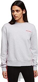 KARL LAGERFELD 女式面料混合吸汗带褶皱运动衫