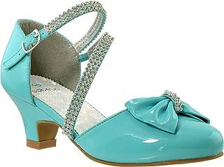 SOBEYO 儿童礼服鞋女童高跟凉鞋水钻蝴蝶结装饰小猫高跟凉鞋 SBO-KSH-47