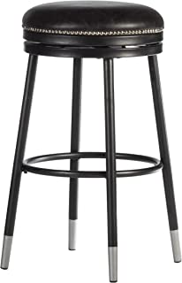 Hillsdale 家具装饰露背金属旋转框架杆高凳,黑色