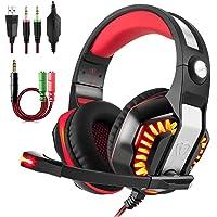 Aottom 专业耳罩式立体声环绕头戴式游戏 头带 PS4 耳机带麦克风低音 LED 适用于 Xbox 、PC、平板电脑…
