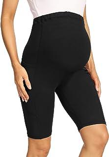 V VOCNI 孕妇打底裤瑜伽裤*板 3D 切割拼色高腰25 英寸(约 63.5 厘米)锻炼跑步孕妇紧身裤 22.86 厘米黑色口袋交叉接缝 Large