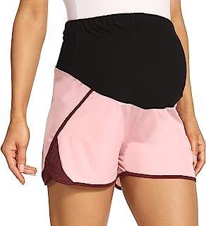 V VOCNI 孕妇短裤女式速干3英寸(约7.62厘米)锻炼短裤运动运动运动跑步短裤带网眼侧面