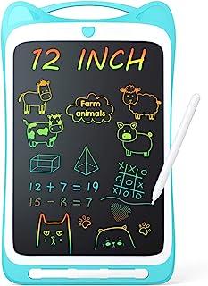 Jasonwell 儿童绘画板涂鸦板 12 英寸(约 30.5 厘米)彩色幼儿涂鸦板可擦除 LCD 写字板 灯光绘图板 教育和学习玩具礼物 适合 3 4 5 6 7 8 岁女孩男孩