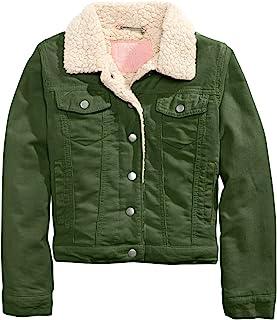 Jou Jou 大孩子女童夏尔巴羊毛和灯芯绒夹克橄榄色 L 码